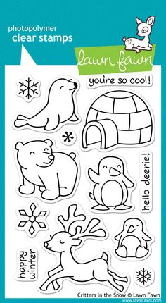 """Lawn Fawn """"Critters in the Snow"""" Clear Stamp Set"""