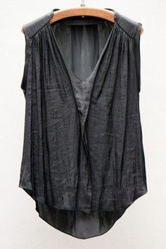 Raquel Allegra Black Liquid Satin Sleeveless Blouse If only. Look Fashion, Womens Fashion, Fashion Design, Gothic Fashion, Looks Style, My Style, Mode Outfits, Dress Me Up, Pulls