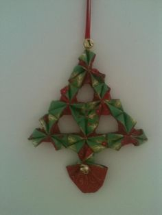 Fabric origami Christmas decoration,I made this