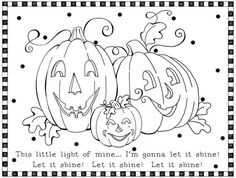 Jesus Shine In Me Coloring Picture.... For Halloween