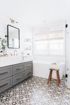 Classic bathroom style has been generally utilized for quite a long time. There are a great deal of families who like structuring a classic bathroom this style isn't outdated. It will probably last even in some future years. Bathroom Renos, Grey Bathrooms, Bathroom Flooring, Bathroom Renovations, Bathroom Faucets, Modern Bathroom, Bathroom Ideas, Shiplap Bathroom, Bathroom Tray