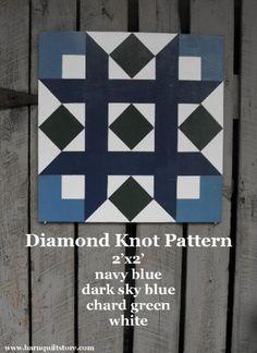 Barn Quilt, Diamond Knot Pattern