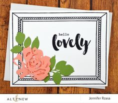 Lovely CAS card with layered floral die from Altenew. This handmade card was created using the Framed Stamp Set, Sweet Friend Stamp Set, Fantasy Floral Die Set, and Envelope Liner Die Set. www.altenew.com