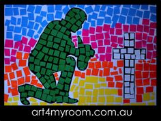 ANZAC soldiers, mosaics- paper, art for teachers and kids - for this lesson please visit our website Remembrance Day Activities, Remembrance Day Poppy, Anzac Day For Kids, Anzac Poppy, Anzac Soldiers, Line Art Projects, Visual Art Lessons, Tears Art, Crafts For Seniors