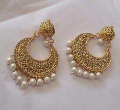 Jadau chand bali - online shopping for earrings by suhana art n jewels Indian Jewelry Earrings, Indian Jewelry Sets, Jewelry Design Earrings, Gold Earrings Designs, Royal Jewelry, Gold Jewelry, Silver Earrings, Chand Bali Earrings Gold, Silver Necklaces