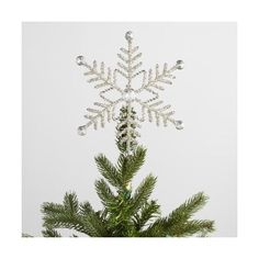 Cost Plus World Market Beaded  Snowflake  Tree Topper ($20) ❤ liked on Polyvore featuring home, home decor, holiday decorations, snowflake tree topper, cost plus world market, handmade home decor, snowflake christmas tree topper and metal home decor
