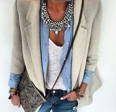 Work outfit, thick silver statement necklace and button shirt mode outfits, Fashion Mode, Look Fashion, Autumn Fashion, Womens Fashion, Street Fashion, Trendy Fashion, Mode Outfits, Fall Outfits, Fashion Outfits