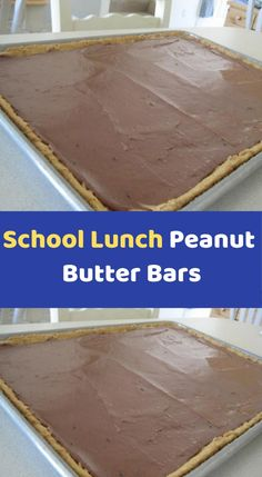 School Lunch Peanut Butter Bars Ingredients: 1 C Flour tsp. Baking Soda ¾ C Butter ¾ C Sugar ¾ C Brown Sugar 1 ½ tsp. Vanilla 1 C Creamy Peanut Butter (split) 2 Eggs 1 ½ C Quick Oats Frosting: ½ C Whipped Peanut Butter, Peanut Butter Cookie Bars, Rice Pudding Ingredients, Dinner Recipes Easy Quick, Easy Recipes, Old Fashioned Rice Pudding, Pan Cookies, Jelly Roll Pan, School Lunch