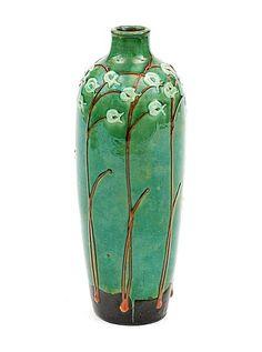 Glazed earthenware vase decorated with engobes design Max Laeuger Max Läuger 1921-'23 executed by Karslruhe Majolica Manufaktur / Germany