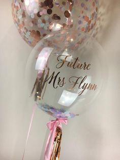 Personalised Bubble Confetti Balloon #pastel #unicorn #hensday #bridalshower