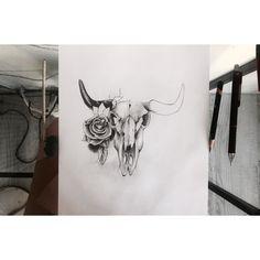 Bull Skull & Rose composition for tattoo