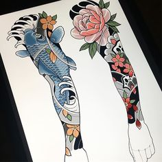 I've been working on some full sleeve ideas that I'll be posting over the next few days, here's the first two! I'll be offering a discount… Traditional Japanese Tattoo Sleeve, Japanese Flower Tattoo, Japanese Tattoo Designs, Japanese Sleeve Tattoos, Irezumi Tattoos, Tatuajes Irezumi, Weird Tattoos, Body Art Tattoos, Hand Tattoos