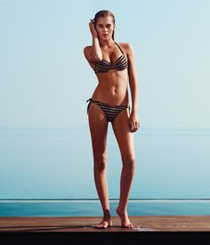 TWIN-SET Simona Barbieri: padded push up with two-tone lurex yarn stripe pattern and tanga with heart logo at the back