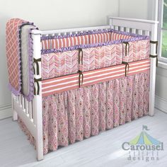 Crib bedding in Light Coral Weathered Stripe, Pink Painted Diamond, Pink Painted Chevron, Pastel Purple Heather, Solid Chocolate Minky, Natural Minky Chenille, Light Coral Lattice. Created using the Nursery Designer® by Carousel Designs where you mix and match from hundreds of fabrics to create your own unique baby bedding. #carouseldesigns