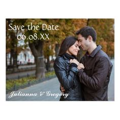 Simple Wedding RSVP Save the Date Photo W/White Text - Post Card