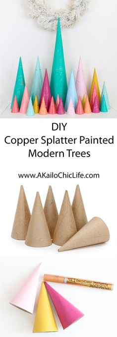 DIY Copper Splatter Painted Modern Christmas Tree Decorations - Advent Calendar - Modern Trees - Target Style - Winter Wonderland - Holiday DIY - Craft Idea - Christmas Craft - Christmas Decorations - DIY