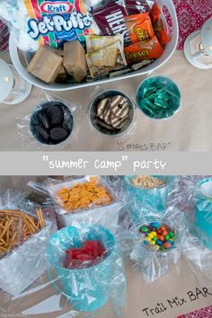 trail mix and smores bar summer camp party