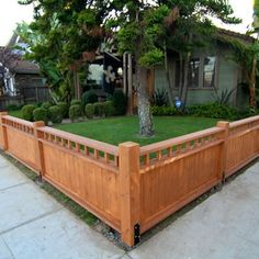 Craftsman Style Fence. Perfect around a front yard. Not all the way to the sidewalk, though- leave enough space around the edge for a narrow flowerbed on the outside of the fence.