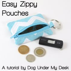 Easy Zippy Pouches - Free Tutorial by Dog Under My Desk #sewing