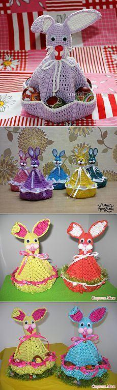 Пасхальный заяц с карманами для яиц / Мир игрушки / Вязаные игрушки. Мастер-классы, схемы, описание.