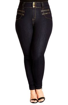 City Chic 'Slim Me' Skinny Jeans (Dark Denim) (Plus Size) available at #Nordstrom