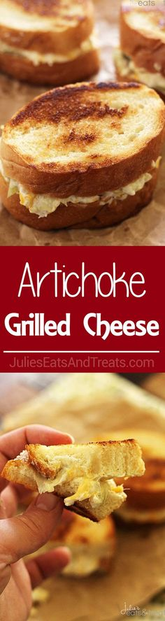 Artichoke Grilled Cheese ~ Delicious Easy Sandwiches Piled High with Cheese and Artichokes! ~ http://www.julieseatsandtreats.com