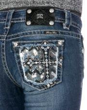 Miss Me Chevron Cross Glitter Party Skinny Jeans
