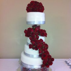 Bridal Shower Cake w fresh roses made by Me = ) Cake4Yay!