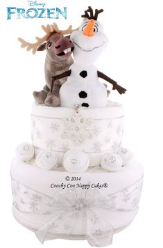 Disney Frozen Olaf the snowman Sven the reindeer nappy cake baby gift, Christmas baby shower gift www.CoochyCooNappyCakes.co.uk