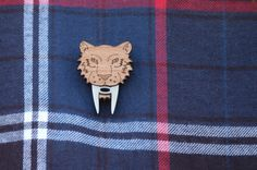 Sabre Tooth Tiger Brooch. Cat Pin. Laser Cut Wood. Acrylic. Extinct Cat Badge Wood Cat Pin. Cat Jewelry. Laser Engraved Sustainable Wood.