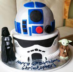 star wars birthday cake - yoda, darth vader, R2D2, trooper