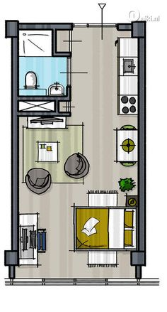 Tiny House Plans 416934878003919578 - 20 feet container home plan with optimum utiluzation of space Source by krclaireme Studio Apartment Floor Plans, Studio Floor Plans, Studio Apartment Layout, Small House Floor Plans, Small Apartment Plans, Hotel Floor Plan, Studio Layout, Container Home Designs, Container House Plans