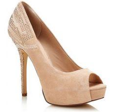 GUESS 'Efia' Nude Suede Peep-toe Covered Platform Stiletto Heel Pump with decorative heel
