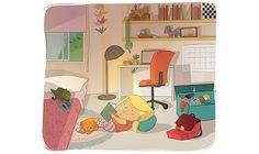 EDUCATIONAL BOOKS - Ester Garay, ilustradora  #girl #blonde #room #illustration #ilustracion #educational #book #infantil #childrenbook #children #cozy #cat #read #libro #texto #beautiful #color #tender #comfy #lectura #gato