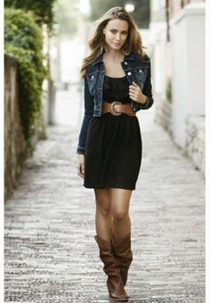 I so want to rock the boots and dress look