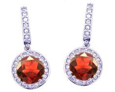 14K White Gold Large Round Garnet Gemstone and Diamond Drop Earrings