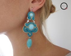 Turquoise. Orecchini soutache. Design Giada Zampar -Opificio77-