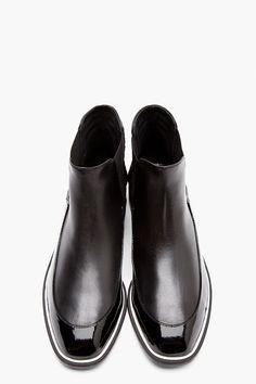 NICHOLAS KIRKWOOD Black Matte  Patent Leather Chelsea Boots