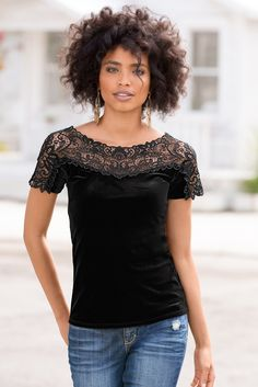 Boston Proper Lace illusion velvet top #bostonproper