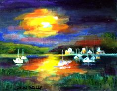 Oil Painting — Sailing at Sunset, by John Reilly, NJ Artist, Unframed, Seascape, Purple, Blue, Yellow. Impressionism. Contemporary Art.