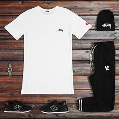 Simplicity over all this season! Stussy staple picks online & in stores. #culturekings #Streetwear #fashion #basics #Stussy #lower #New Balance 574 #black #white #match