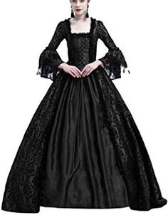 Princess Renaissance Cosplay Dress Retro Medieval Costume Party Vintage Lace Stitching Trumpet Sleeves Dresses for Women Black Victorian Dress Costume, Victorian Ball Gowns, Victorian Dresses, Victorian Lace, Victorian Steampunk, Elegant Ball Gowns, Elegant Dresses, Vintage Dresses, Vintage Lace