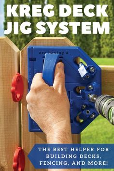 Create a better, comfortable, more-beautiful deck with the Kreg Deck Jig. This concealed-fastening system works with Kreg Deck Screws to create decking without visible fasteners. All you see is the beauty of your decking - not a bunch of screws. Features hardened-steel guides to drill precisely positioned pilot holes, and guide Deck Screws to attach decking from the edge solidly and invisibly. Works with solid-wood or composite deck boards. || #kregjig #tools #deck #decking #backyard #diy… Rockler Woodworking, Woodworking Hand Tools, Beginner Woodworking Projects, Popular Woodworking, Woodworking Crafts, Woodworking Tools, Woodworking Jigsaw, Woodworking Furniture, Woodworking Quotes