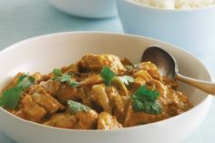 Satay chicken curry - swap out chicken for chickpeas and add carrot and broccoli.