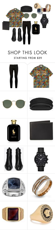 """Harry 02"" by alessandra-guimaraes on Polyvore featuring Topman, Gucci, Ray-Ban, Yves Saint Laurent, Ralph Lauren, The Men's Store, Emporio Armani, Simon G., Versace e men's fashion"