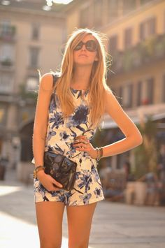 blue and white romper/ beautiful