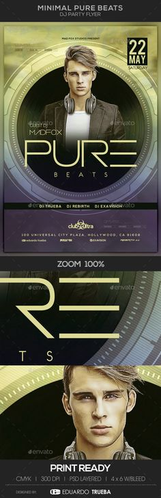Minimal Pure Beats Dj #Party #Flyer - Clubs & Parties Events Download here: https://graphicriver.net/item/minimal-pure-beats-dj-party-flyer/19730130?ref=alena994