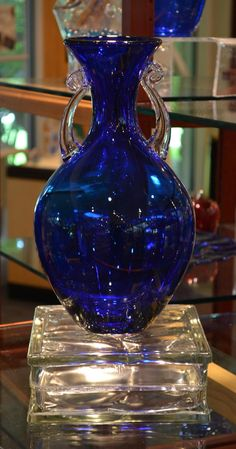 Cobalt Blue Vase by Blenko Glass Blenko Glass, Fenton Glass, Glass Vase, Bleu Cobalt, Glas Art, Im Blue, Blue Dishes, Cobalt Glass, Crystal Glassware