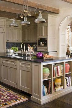 Tan/grey cabinets with dark counters and backsplash?