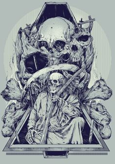 By Rafal Echterowicz #illustration #skulls